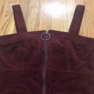 Maroon Corduroy Zip Front Dress